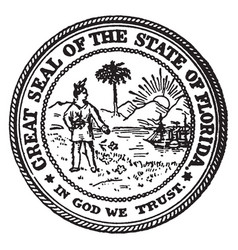 the great seal of the state of florida vintage vector image vector image