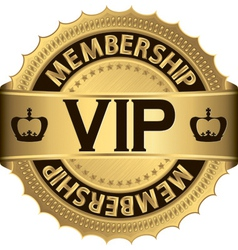 Vip membership golden label vector image vector image