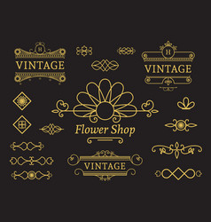 Flower shop emblem vector