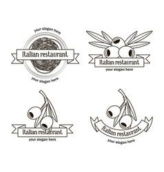 Hand drawn italian restaurant logos set vector