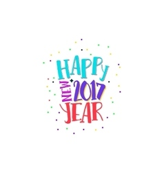 Happy new year label with bright colors vector image