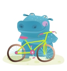 Kid Cute Hippo with Bicycle Childish Cartoon vector image
