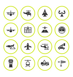 set round icons of aviation vector image