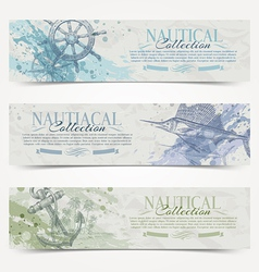 Travel and Nautical vintage hand drawn banners vector image vector image