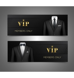 Businessman suit vip cards horizontal banners vector image vector image