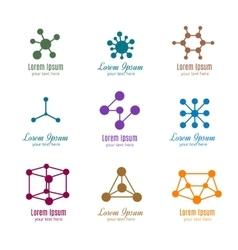 Dna and molecule logos for tech medicine vector image