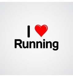 I love running font type with heart sign vector image vector image