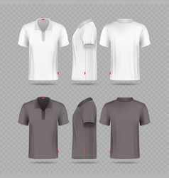 white black mens polo t-shirt set isolated on vector image