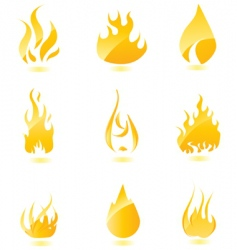 glossy fire icons big vector image