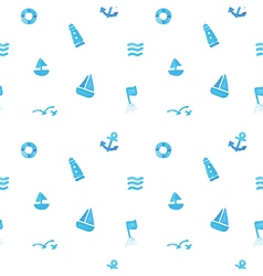 Seamless of sea subject and symbols vector image vector image