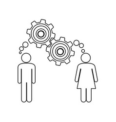 Silhouette pictogram man and woman with thought in vector