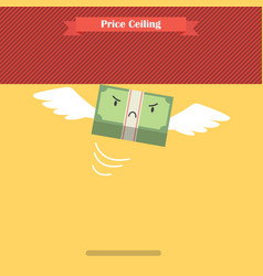 Unhappy money bill stuck at ceiling vector