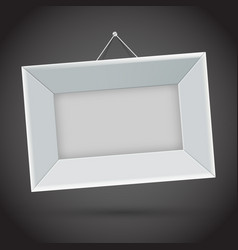 white photo frame on dark background vector image vector image