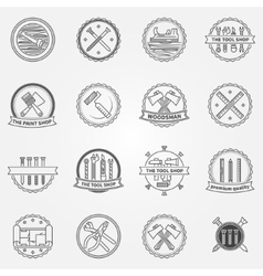 Work tools badges or labelseps vector image