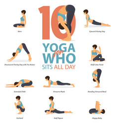 10 yoga poses for who sits all day vector