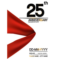 25 anniversary design with big red ribbon vector