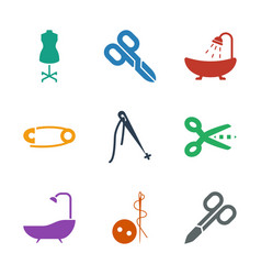 9 tailor icons vector