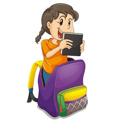 a girl in the school bag vector image