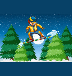 a young man snowboarding vector image