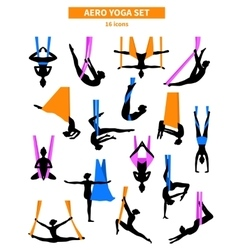 Aero Yoga Black White Icon Set vector