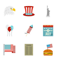 American independence holiday icon set flat style vector
