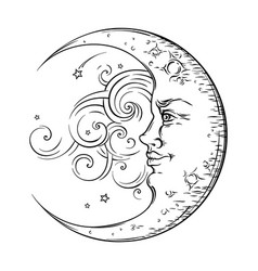 antique hand drawn art crescent moon boho style vector image