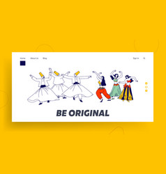 arabic dances landing page template whirling vector image