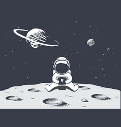 Astronaut playing games on smartphone vector