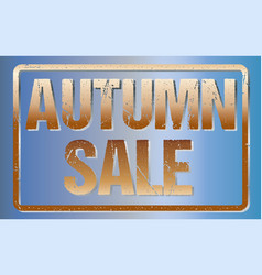 autumn sale typography isolated on blue rubber vector image