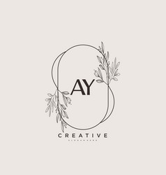 Ay beauty initial logo art handwriting logo vector