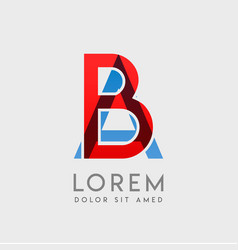 Ba logo letters with blue and red gradation vector
