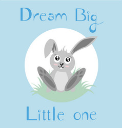 Baby bunny with blue background vector