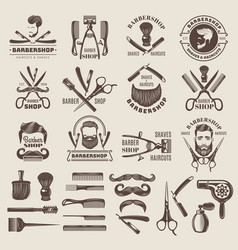barber shop badges scissors combs brush blade vector image