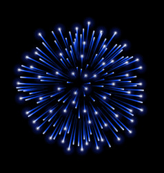 Beautiful blue firework bright salute isolated vector