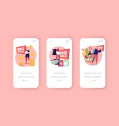 Big sale mobile app page onboard screen template vector