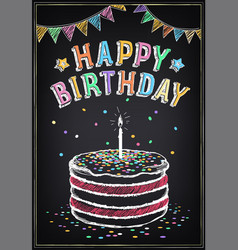 Birthday invitation card cake with candle vector