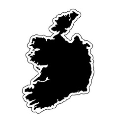 Black silhouette of the country ireland with the vector