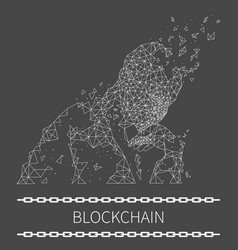 Blockchain poster text with human thinking vector