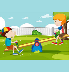 Boy and girl playing seesaw vector