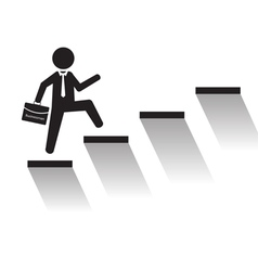 Business man climb stairs over white background vector image