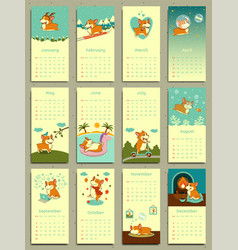 calendar 2018 cute monthly calendar with welsh vector image
