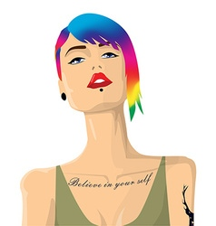 Cartoon hipster girl portrait with colorful hair vector image