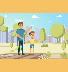 cartoon little boy and man vector image