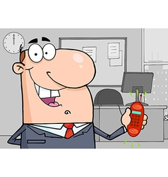 Caucasian Businessman Holding A Ringing Cell Phone vector image