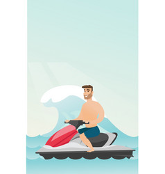 Caucasian man riding on a water scooter in the sea vector