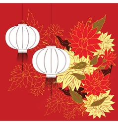 Chinese Lantern with Flowers3 vector image
