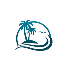 coconut tree on a beach icon design template vector image