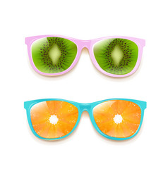 colorful two sunglasses isolated white background vector image