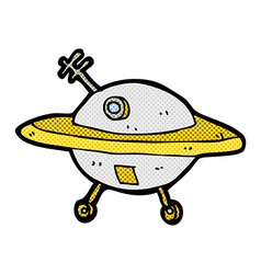 Comic cartoon flying saucer vector