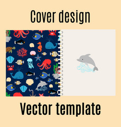 cover design with sea pattern vector image